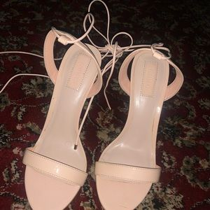 Forever 21 Shoes - Forever 21 Nude Strappy Sandal Heels Size 7